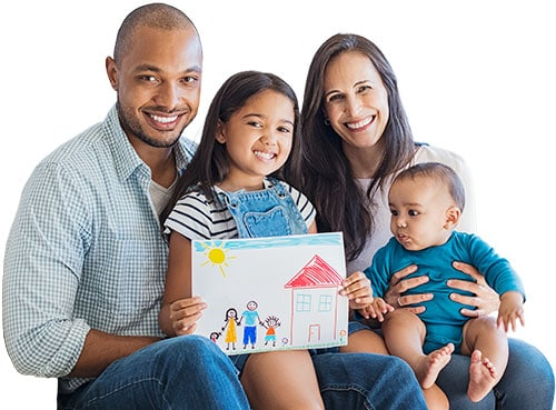 Family and child's drawing of home
