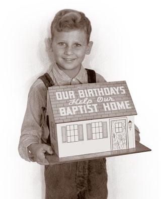 Boy holding Birthday Bank