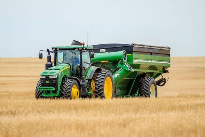 Combine win a wheat field