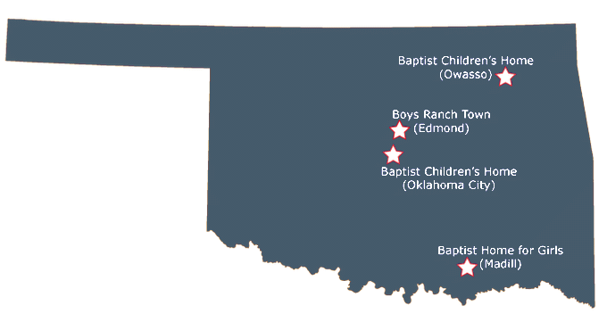 Map of Oklahoma showing OBHC campus locations.