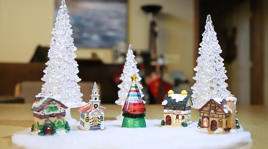 snowy Christmas village decor