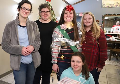 group of teenage girls at Christmas