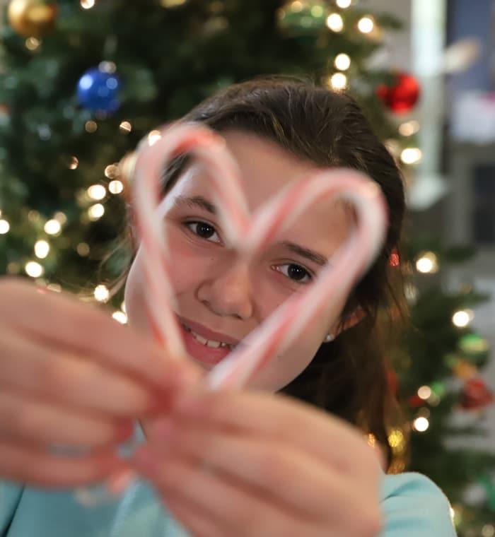 Girl at Christmas time