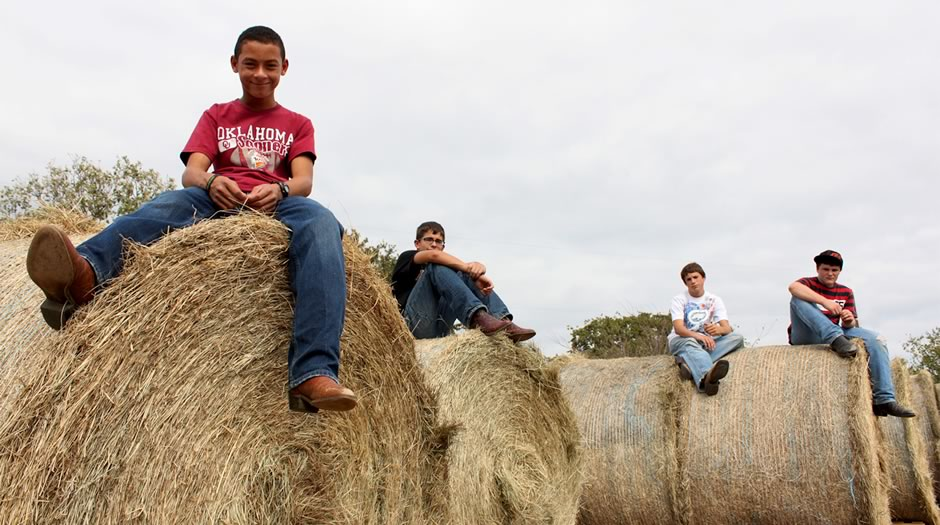boys sitting on bales of hay