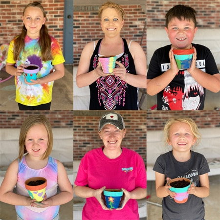 Moms and kids had a blast painting flower pots.