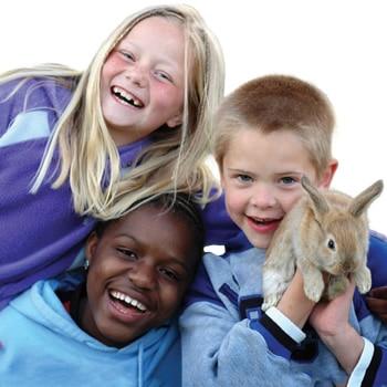 Three children holding a rabbit