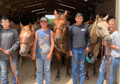 Boys in the horse program