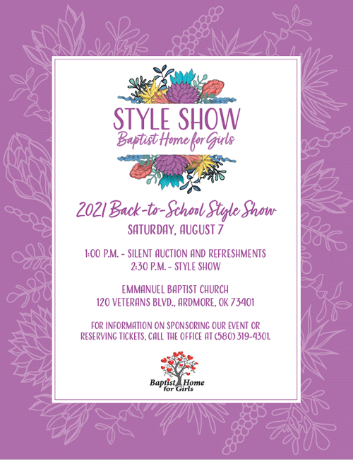 Baptist Home for Girls Back-to-School Style Show Flyer