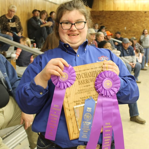 Krystyna showning wins at livestock show
